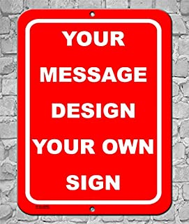 BA IMAGE Personalized Custom Red 001 Aluminum Metal Sign with Your Message (9x12 Red w/White, Vertical)