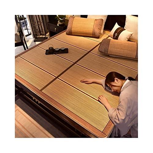PLMOKN Mats for Dormir de Verano Bambú, Almohada de enfriamiento Pesado, Sudor Suave Absorbe el colchón de ratán for una Cama Doble Individual (Color: marrón-B, Tamaño: 200x220cm)