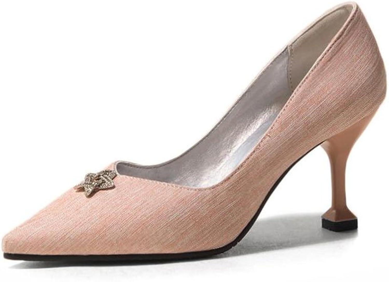XUERUI Ms High Heels Stilettos Graduation Get Together Elegant Beautiful Comfortable Fit 7.5cm Heel (color   Pink, Size   EU38 UK5.5 CN38)