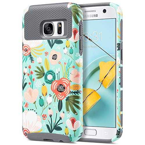 ULAK S7 Case, Galaxy S7 Case, Hybrid Case for Samsung Galaxy S7 2016 Release Dual Layer Style Hard Cover (Mint Floral) Will not Fit S7 Edge