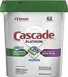 Cascade Platinum Dishwasher Pods, ActionPacs Detergent, Fresh, 62 Count(2-Pack)