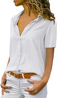 5ab96ec8571a0 Damen Chiffon Kurzarm Blusen V Ausschnitt Mode T-Shirt Oberteile Elegant  Hemd Top Einfarbig Kurzarm