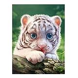 Kit de pintura de diamante 5D para adultos, pintura de bordado de diamantes de imitación redonda para niños, decoración de pared del hogar (color: pequeño tigre, tamaño: 58 x 70 cm)