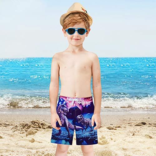 Funnycokid Teens Boys Shorts Summer Dinosaur Elasticed Casual Holiday Beach Wear Kids Surf Board Trunks, Dinosaur, X-Large(14-16T)