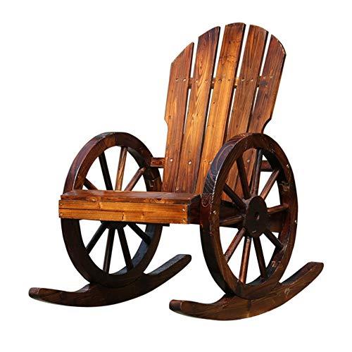 LIXIONG Schaukelstuhl Individuell Lounge-Sessel Chinesische Tanne Sessel Raddesign Verkohlung Prozess für die Terrasse Hinterhof, braun (Color : Brown)