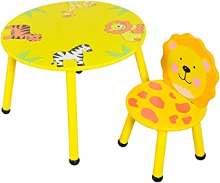 Children s table and chair set Cartoon animal  kindergarten table and chairs  solid wood children s toy table game table