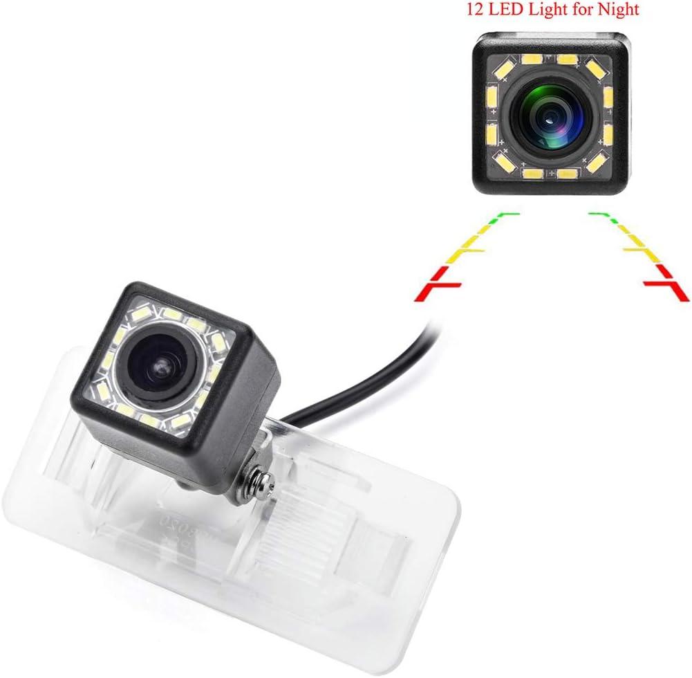 eHANGO Car Rear View Camera with 4 Pin to RCA Cable Bracket License Plate Lights Housing Mount for BMW 3 E90 E91 E92 M3 X5 SUV X5M X6 Sedan Wagon 12 LED