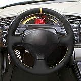 GLFDYC Tapa del Volante del Automóvil Cosido en Ante Negro en el Volante del Automóvil para Honda S2000 2000-2006 2007 2008 Civic Si 2002-2004 Acura RSX Type-S 2005,style-04