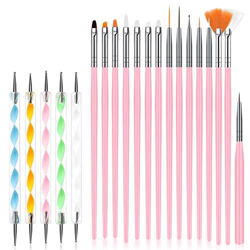URAQT Pinceles para Uñas, 20Pcs Set de Nail Art Cepillo, Profesional Nail Acrilicas para Art Cepillo, Moda Manicura de Pinceles para Uso Diseñol y Bricolaje