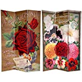 Oriental Furniture 6 ft. Tall Double Sided Flower Seeds Canvas Room Divider - Roses