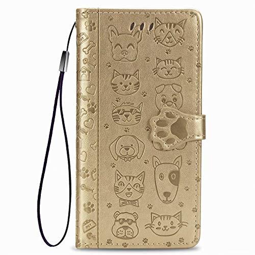 Lederhülle Handyhülle für Samsung Galaxy A32 5G Hülle Leder, für Samsung A32 5G Katze H& Klapphülle, Samsung Galaxy A32 5G Wallet Silikon Schutzhülle, Handytasche für Galaxy A32 5G Tasche Golden