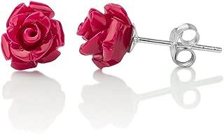 925 Sterling Silver Tiny Resin Rose Flower 9 mm Post Stud Earrings