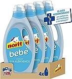 NORIT Bebé - Detergente Líquido para Ropa de Bebé, Pieles Sensibles y Atópicas - Pack de 4 Unidades de 1125 Mililitros, 4500 Mililitros