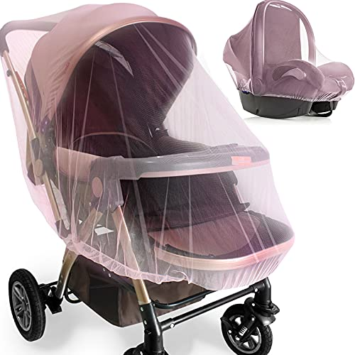 Mosquito Net for Stroller - 2 Pack Durable Baby Stroller Mosquito Net - Perfect Bug Net for Strollers, Bassinets, Cradles, Playards, Pack N Plays and Portable Mini Crib (Pink) …