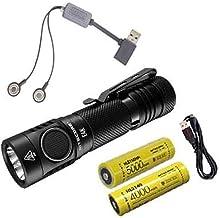 Combo: Lanterna Nitecore E4K de próxima geração – 4400 lúmens 2x baterias recarregáveis de íons de lítio NITECORE 21700 e ...