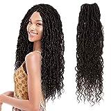 FASHION IDOL 5 Packs BOHO Goddess Locs Crochet Hair 20 Inch Natural Weay Faux Locs Crochet Hair with Curly Hair Nu Locs Braids Natural Black