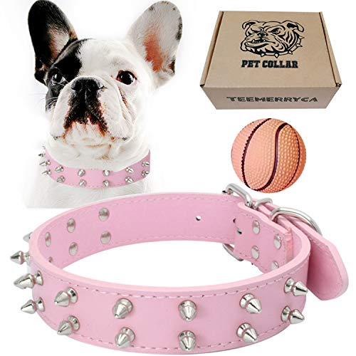teemerryca Leather Spiked Studded Dog Collars with a Squeak Ball Gift for Medium Large Dogs Like Pit Bull/Bulldog/Husky Labrador/German Shepherd, Pink, Medium 16.1-20 inches