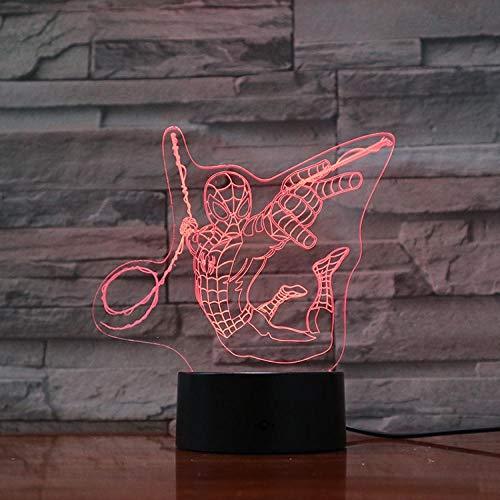 Nachtlampje Spider-man Battle-touch Klein Nachtlampje 7 Kleuren Touch Optische Foto Tafel Decoratie Lamp, Geschikt Voor Slaapkamer Bar Sfeerlamp