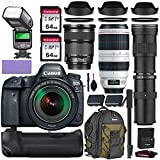 Canon EOS 5D Mark IV DSLR Camera w/Canon 24-105mm is STM, Canon 100-400mm is II USM & Commander 420-800mm Telephoto Lens + Elegant Accessory Kit (2X 64GB Memory Card, Canon Backpack TTL Flash & More)