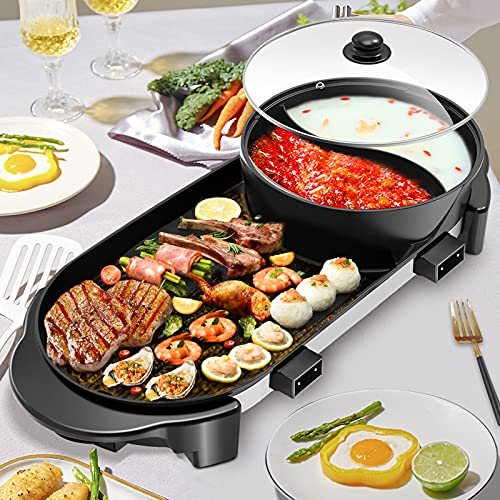 5 Speed Fire Adjustment Electric Barbecue Stove Indoor Hot Pot, 2200W Large Capacity Multifunctional Non-Stick Portable Electric Barbecue Stove for Household Dinner and Entertainment Party