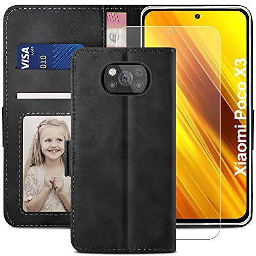 YATWIN Handyhülle Xiaomi Poco X3 NFC Hülle +1 Stück Panzerglas Schutzfolie, Klapphülle Xiaomi Poco X3 Pro Premium Leder Brieftasche Schutzhülle [Kartenfach][Stand] Handytasche Hülle für Poco X3,Schwarz