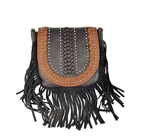 Handtasche Schultertasche Westerntasche Montana West Leder mit Fransen Nieten