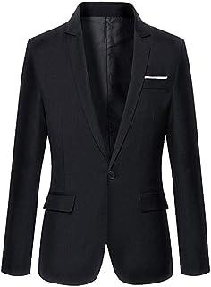 Men's One Button Solid Color Blazer Slim Fit Suit Jacket Casual Coat Business Tuxedo Blazer