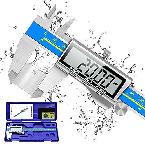 Digitale Schieblehre Industriequalität, Orthland Messschieber Digital Messlehre 150mm mit Hoch Messgenauigkeit&Groß LCD, Tiefenmesser Edelstahl Analog IP54 Wasserdichte für Innen, Außen&Stufen Messung