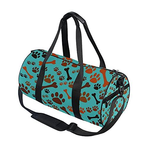 Bolsa de viaje con estampado de huellas de perro con hueso bolsa de viaje para deporte gimnasio bolsa de equipaje para hombres y mujeres