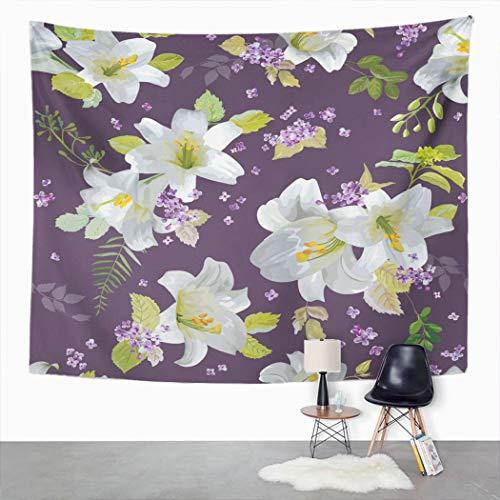 Y·JIANG Tapiz de flores de lirio, floral Shabby Chic, flores de verano, cumpleaños, hogar, dormitorio, tapiz grande, manta ancha para colgar en la pared para sala de estar, dormitorio, 152,4 x 127 cm