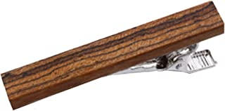Stainless Steel Bow Wood Tie Clip by D&L Menswear