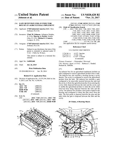 Gate retention for an inductor box of an agricultural implement: United States Patent 9820428 (English Edition)