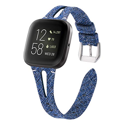 VEAQEE Woven Bands Compatible with Fitbit Versa/Versa 2/Versa Lite Edition for Women Men,Fabric Breathable Accessories Strap Adjustable Replacement Wristband for Fitbit Versa Smart Watch (Blue)