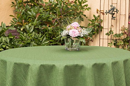 ODERTEX Garten-Tischdecke ABWASCHBAR mit Acryl und BLEIBAND, Form und Größe sowie Farbe wählbar,160 cm rund grün Rustikal