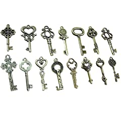 BESTIM INCUK 40 Pack Vintage Skeleton Keys Charms in Antique Bronze Color for Jewelry Making Supplies, Steampunk Accessories, Craft Projects #2
