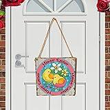 Watopi - Placa Decorativa de Pascua para Puerta de Pascua, diseño de Conejo de Pascua