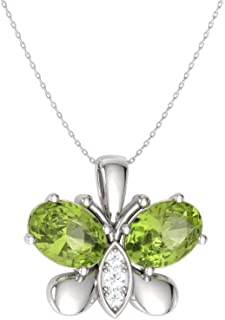 Natural and Certified Oval Cut Gemstone and Diamond Butterfly Necklace in 14k White Gold | 0.60 Carat Pendant with Chain