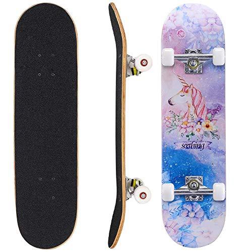 Niños Skateboard Tablero Completo Longboard para Boy and Girl, 31 Pulgadas 7-Ply Maple de Madera Cubierta cóncava Ruedas de PU silenciosa de Alta Velocidad -7 Carga de rodamientos de Bolas 150 kg, 80