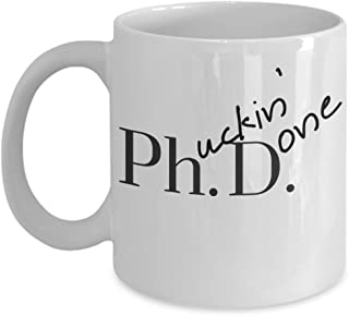 Humorous Coffee Talk PHD Humor Coffee Mugs, Phucking Done Ceramic Mug Graduation Gifts, Curse Coffee Cup, Funny Desk Ornaments, Novelty Gifts, Grad Student Gag Gifts - Krumfortable Living