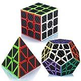 Maomaoyu Cubo Magico Set, Piramide Cubo+Megaminx + Speed Cube 3x3, Cubo de la Velocidad Fibra De Carbono Caja de Regalo de 3 Piezas Set Negro