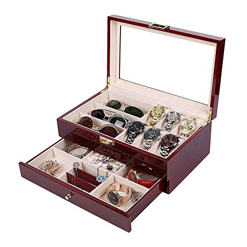 Jinzsnk Horloge Box 2 Lagen Houten Horloges Box Sieraden Geschenkdoos Sandelhout Verf Opslag Bril Box Kast Organizer Horloge Display Opbergdoos