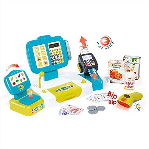 Smoby - Elektronische Supermarktkasse XL - Spielkasse mit Taschenrechnerfunktion, Soundgeräuschen und viel Zubehör, für Kinder ab 3 Jahren, Türkis