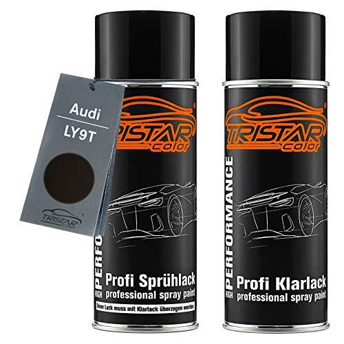 TRISTARcolor Autolack Spraydosen Set für Audi LY9T Mythosschwarz Perl Basislack Klarlack Sprühdose 400ml
