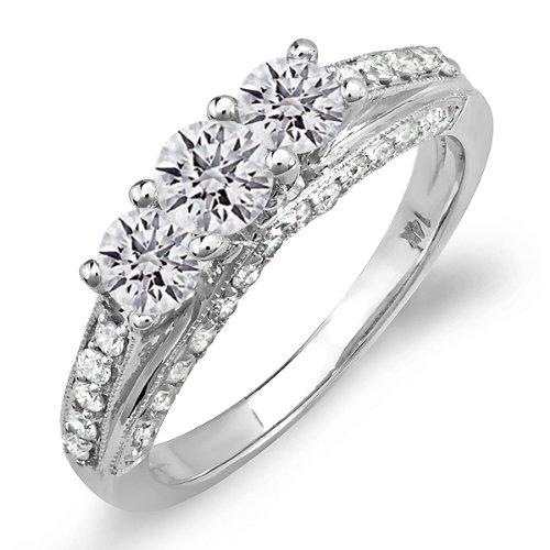 DazzlingRock Anillo de compromiso de oro blanco de 14 quilates con diamantes redondos para mujer (1,25 quilates, color H-J, claridad I1)