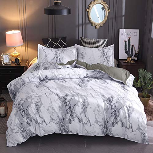 choicehot Marble Duvet Cover Set, Soft Bedding Set Brushed Microfiber Quilt Cover with Pillowcases (Double Size, Grey)