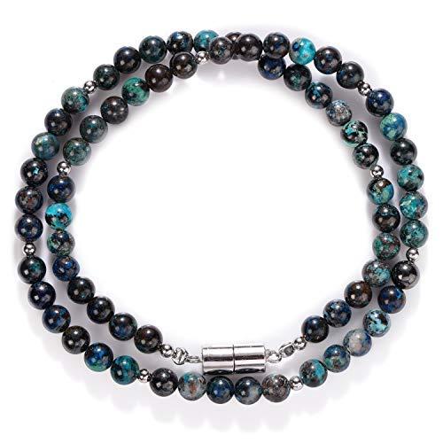 Natürliche Chrysokoll-Perlen, 7 mm, glatt, poliert, rund, 45,7 cm, Chrysokoll-Halskette, echtes Chrysokoll-Halskette mit silbernem Magnetverschluss