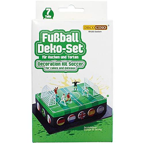 Ideal para las tartas temáticas Las figurines tienen la altura de 6 cm El set consta de: 4 figuras de futbolista, 1 árbitro, 2 goles Adecuado para crear sorpresas