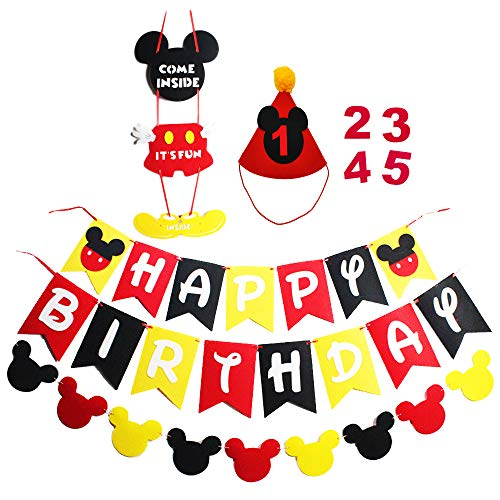 Mickey Mouse Party Supplies Kits Happy Birthday Banner Garland Birthday Hat and Welcome Hanger for Baby Kids Shower Theme Parties Decoration
