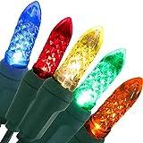 Sunnydaze Christmas Tree Lights M6 Faceted LED String Light - 70-Count bulbs -...