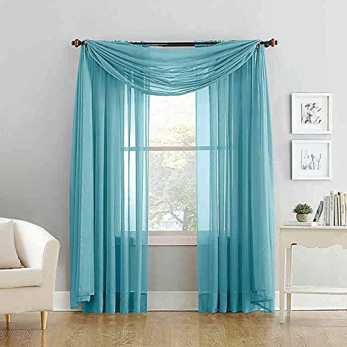 """Empire Home 216"""" Long Sheer Curtain Valance Window/Scarf Great Value 25 Colors (Turquoise)"""